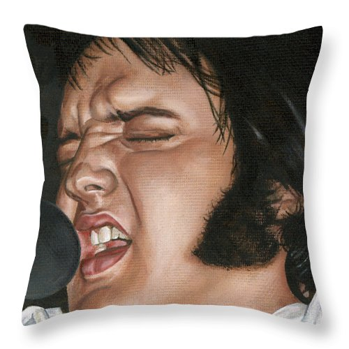 Elvis Throw Pillow featuring the painting Elvis 24 1977 by Rob De Vries