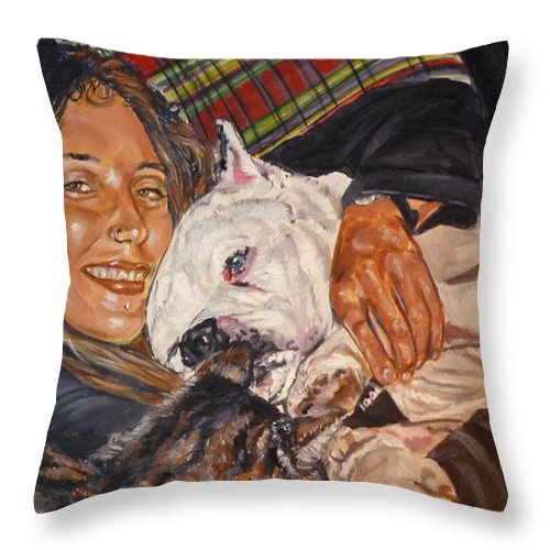 Pet Throw Pillow featuring the painting Elvis And Friend by Bryan Bustard