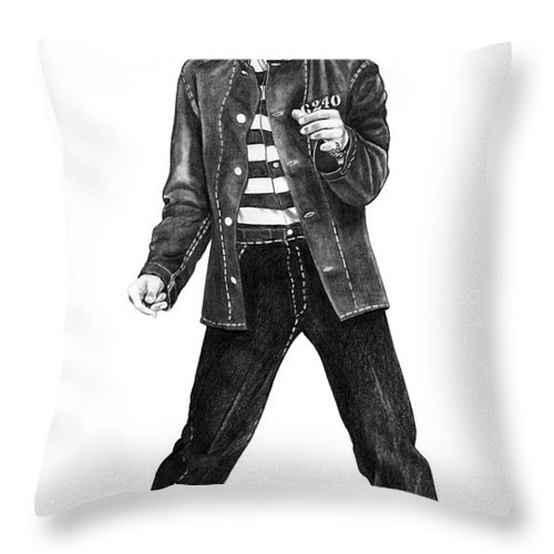 Elvis Throw Pillow featuring the drawing Elvis Presley  by Murphy Elliott