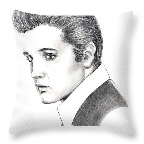 Pencil. Portrait Throw Pillow featuring the drawing Elvis Presley by Murphy Elliott