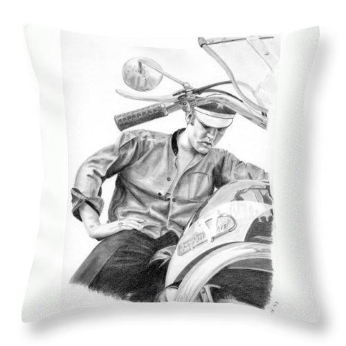 Singer Throw Pillow featuring the drawing Elvis Presley by Rob De Vries