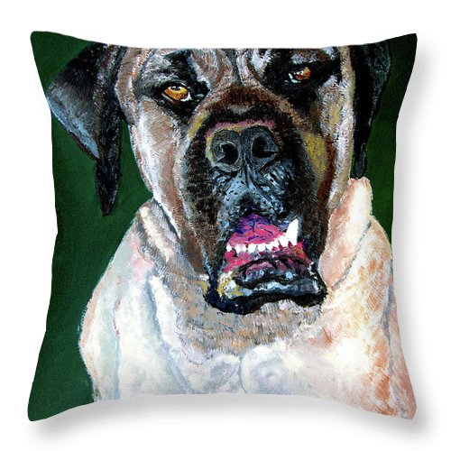 Dog Portrait Throw Pillow featuring the painting Ely by Stan Hamilton