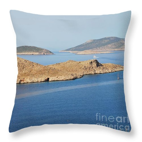 Halki Throw Pillow featuring the photograph Emborio Harbour On Halki Island by David Fowler