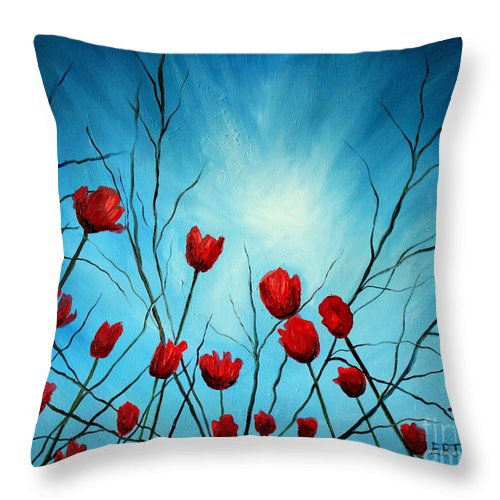 Tulips Throw Pillow featuring the painting Embrace by Elizabeth Robinette Tyndall