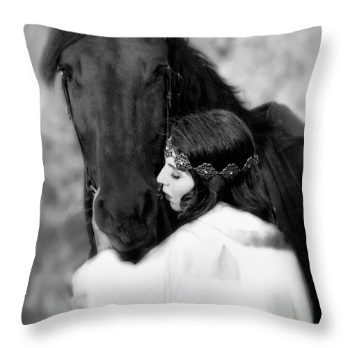 Horse Throw Pillow featuring the photograph Embrace by Jean Hildebrant