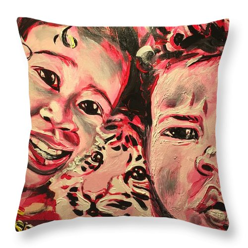 Children Throw Pillow featuring the painting Embrace Life by Sean Ivy aka Afro Art Ivy