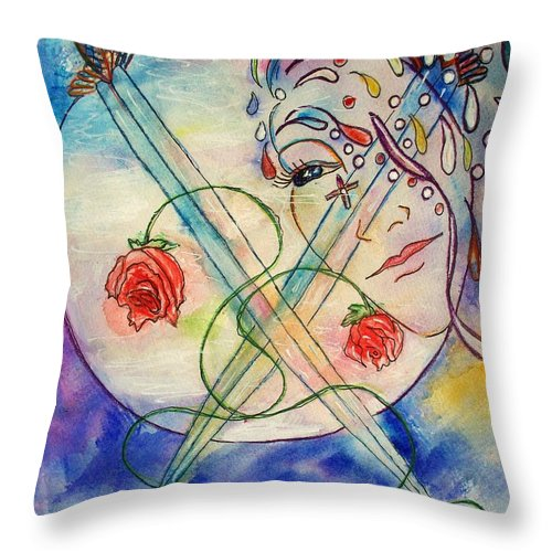 Portrait Throw Pillow featuring the painting Embracing The Mystery by Robin Monroe