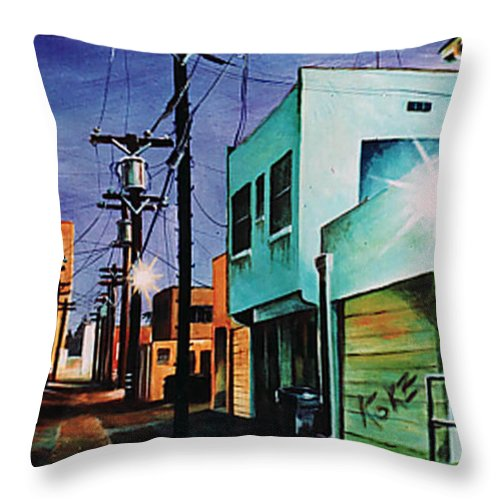 Alley Throw Pillow featuring the painting Emerald Alley by Duke Windsor