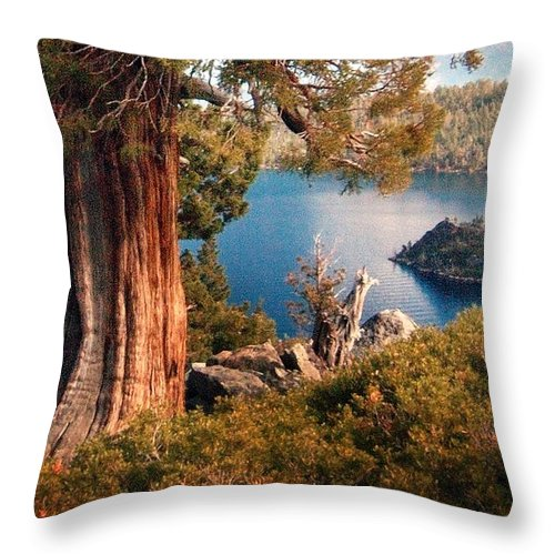 California Scenes Throw Pillow featuring the photograph Emerald Bay Overlook by Norman Andrus