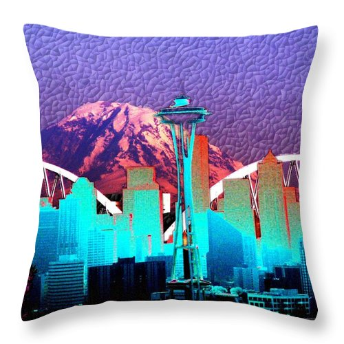 Seattle Throw Pillow featuring the photograph Emerald City Diamonds by Tim Allen