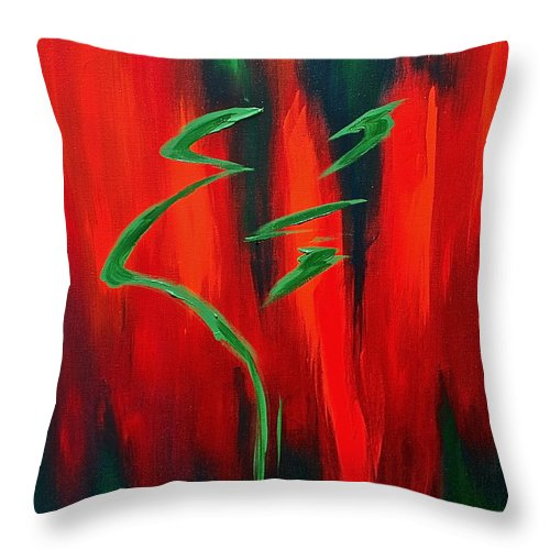 Abstract By Herschel Fall Red Green Hot Throw Pillow featuring the painting Emerald by Herschel Fall