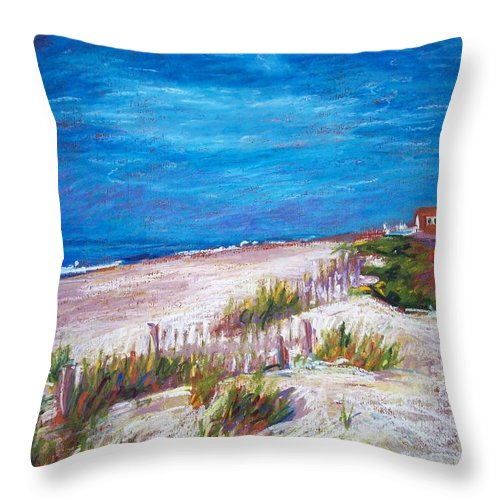 North Carolina Throw Pillow featuring the painting Emerald Isle Dunes by Bethany Bryant