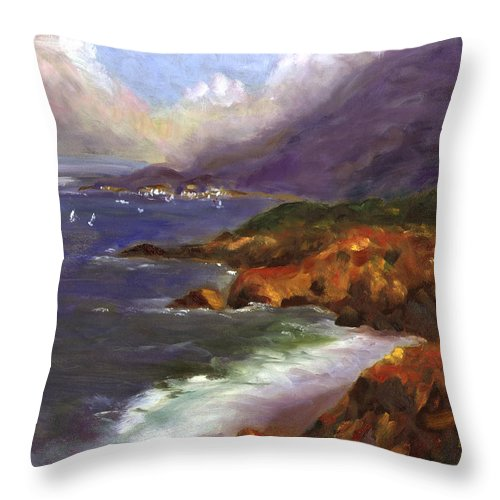 Ocean Throw Pillow featuring the painting Emerald Surf by Linda Hiller