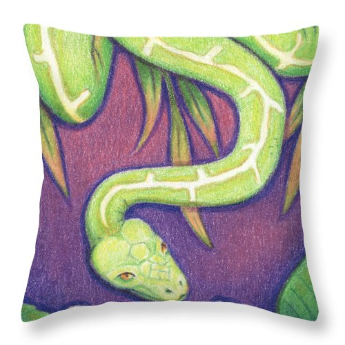 Snake Throw Pillow featuring the drawing Emerald Tree Boa by Amy S Turner