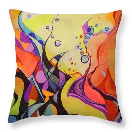 Watercolors Pens Paper Abstract Throw Pillow featuring the painting Emergence by Wolfgang Schweizer