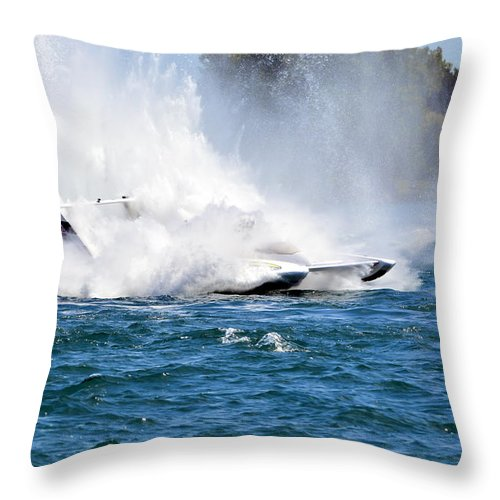 Hydroplane Races Throw Pillow featuring the photograph Emerging From The Spray by Mark Madion