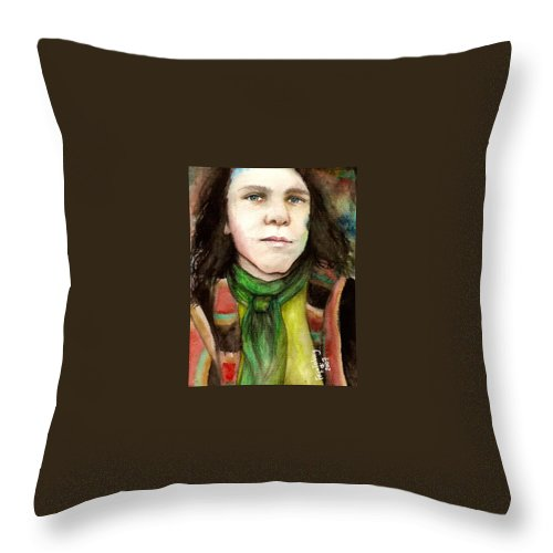 Boy Throw Pillow featuring the drawing Emil by Freja Friborg