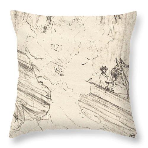 Throw Pillow featuring the drawing Emilienne D'alen?on by Henri De Toulouse-lautrec