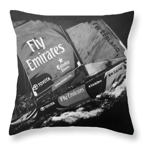 America's Cup Throw Pillow featuring the painting Emirates Team New Zealand by Richard Le Page