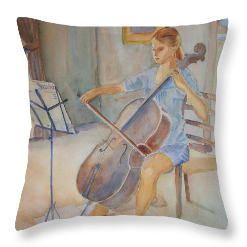 Girls Throw Pillow featuring the painting Emma And Clifford by Jenny Armitage