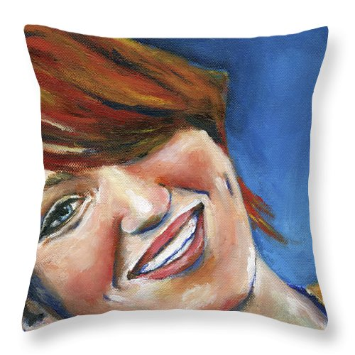 Red Head Throw Pillow featuring the painting Emma At 16 by Julie Dalton Gourgues