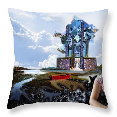 Spacem Maine Throw Pillow featuring the digital art Emma's Afternoon Snack by Dave Martsolf