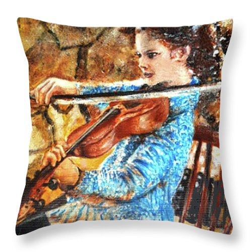Emma's Violin Throw Pillow featuring the mixed media Emma's Violin by Seth Weaver