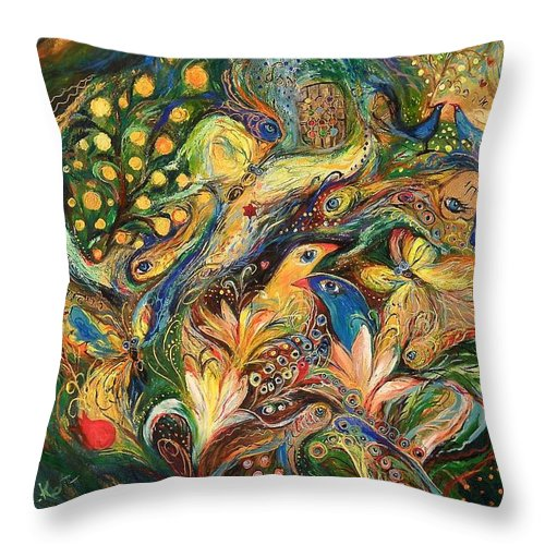 Original Throw Pillow featuring the painting Emotion In Green by Elena Kotliarker