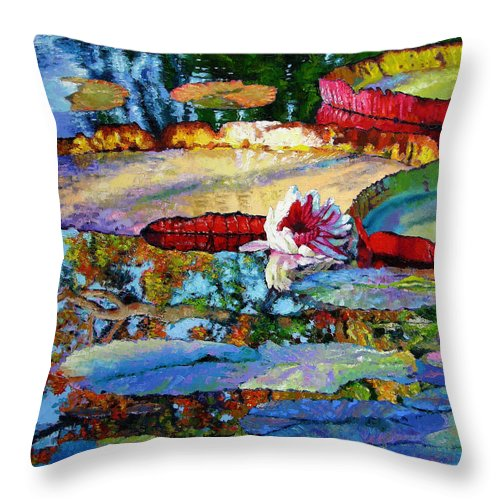 Garden Pond Throw Pillow featuring the painting Emotions Of Color Light And Texture by John Lautermilch