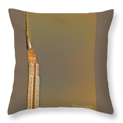 New York Throw Pillow featuring the photograph Empire Sky by Tracy Long