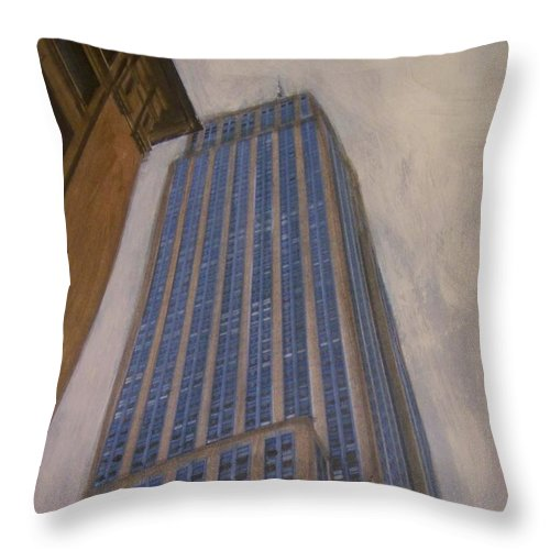 Empire State Building Throw Pillow featuring the mixed media Empire State Building 2 by Anita Burgermeister