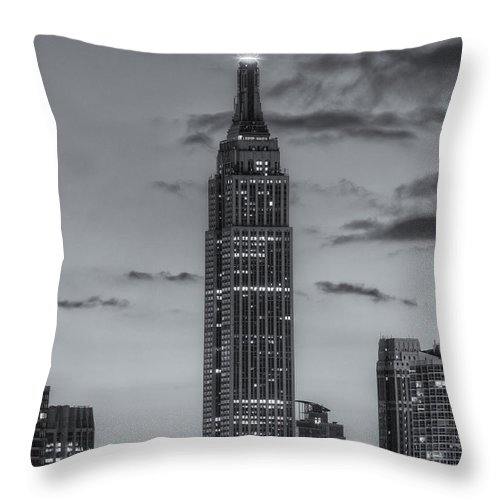 Clarence Holmes Throw Pillow featuring the photograph Empire State Building Morning Twilight IV by Clarence Holmes
