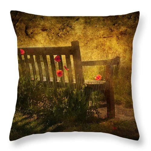 Background Throw Pillow featuring the digital art Empty Bench And Poppies by Svetlana Sewell