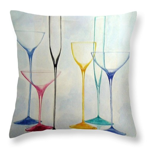 Glass Throw Pillow featuring the painting Empty Glasses by Melina Mel P
