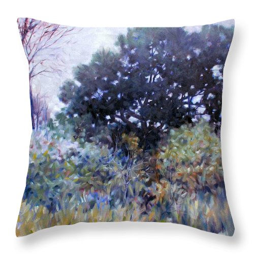 Landscape Throw Pillow featuring the painting Empty Lot by Kevin Lawrence Leveque