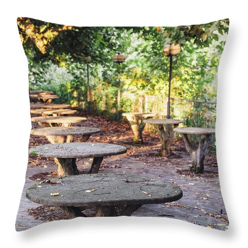 Autumn Throw Pillow featuring the photograph Empty Picnic Tables In The Early Fall With Fallen Leaves by Alexandre Rotenberg