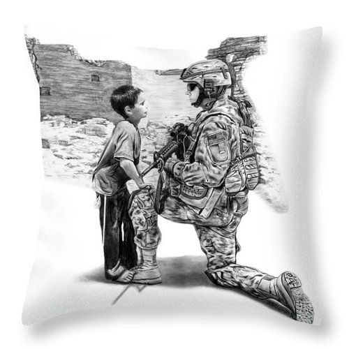 Empty Pockets Throw Pillow featuring the drawing Empty Pockets by Peter Piatt
