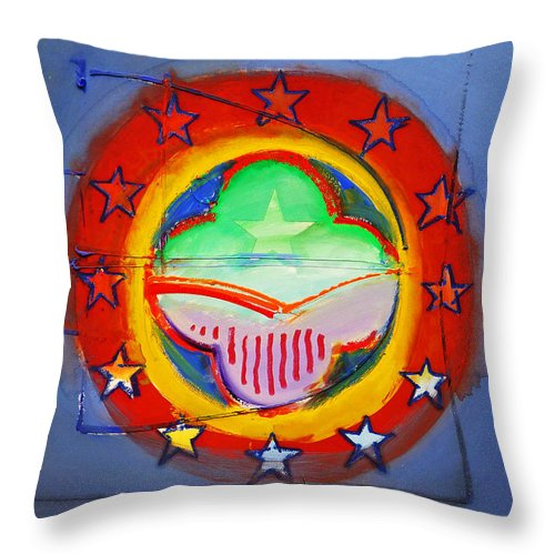 Symbol Throw Pillow featuring the painting EMU by Charles Stuart