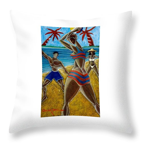 Beach Throw Pillow featuring the painting En Luquillo Se Goza by Oscar Ortiz