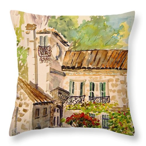 France Throw Pillow featuring the painting En Plein air at Moulin de la Roque France by Jo Smoley