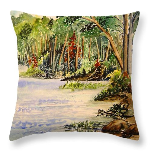 Otter Falls Manitoba Whiteshell Lake Landscape Throw Pillow featuring the painting En Plein Air At Otter Falls Boat Launch by Joanne Smoley