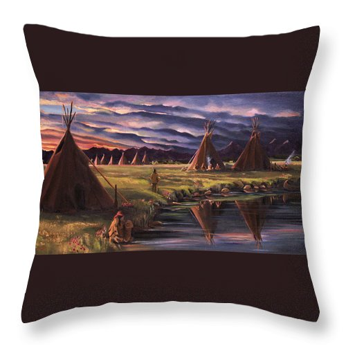 Native American Throw Pillow featuring the painting Encampment At Dusk by Nancy Griswold