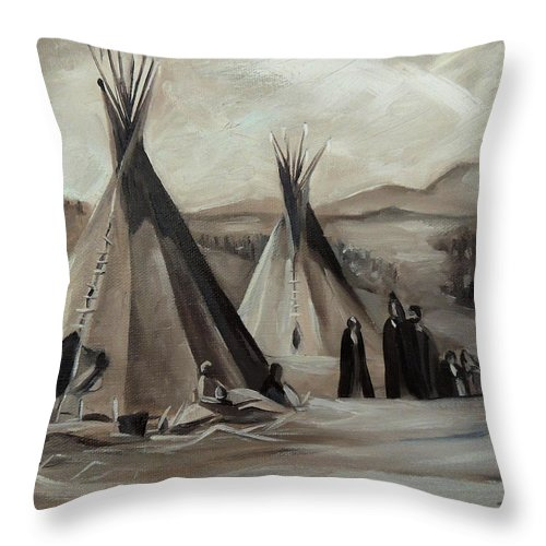 Shoshone Encampment Throw Pillow featuring the painting Encampment of the Shoshone by Nancy Griswold