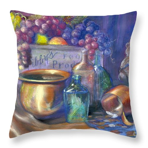 Pastel Art Work Throw Pillow featuring the painting Enchanced Still Life Honey Bear by Penny Neimiller