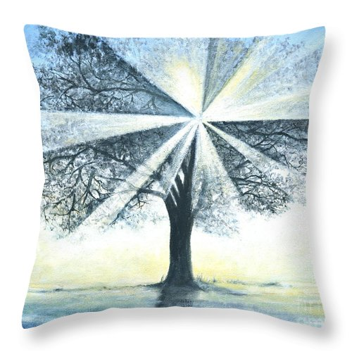 Bright Sun Paintings Throw Pillow featuring the painting enchanced Tree Light by Penny Neimiller