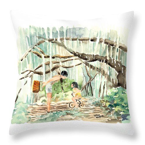 Tree Throw Pillow featuring the painting Enchanted Forest by Arline Wagner