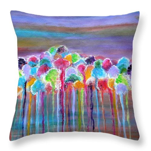 Abstract Throw Pillow featuring the painting Enchanted Forest by Manjiri Kanvinde