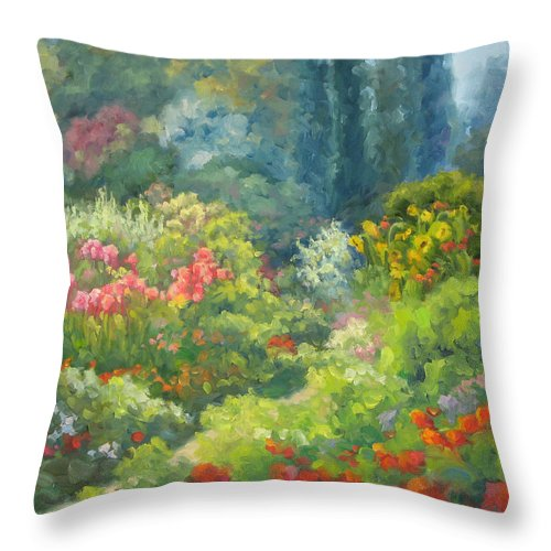 Landscape Throw Pillow featuring the painting Enchanted Garden by Bunny Oliver