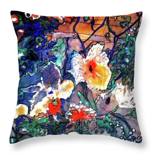Landscape Throw Pillow featuring the painting Enchanted Garden by Norma Boeckler
