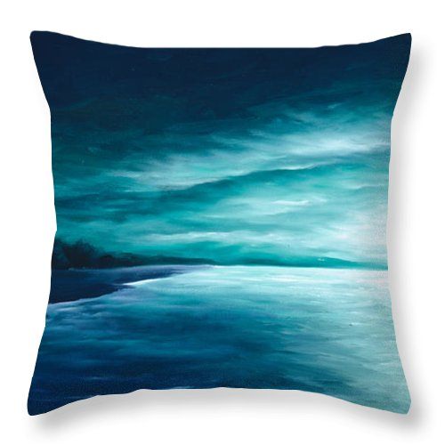 Moonscape Throw Pillow featuring the painting Enchanted Moon I by James Christopher Hill